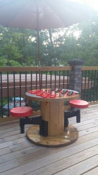 Diy Outdoor checker table from electric spool | DIY ...