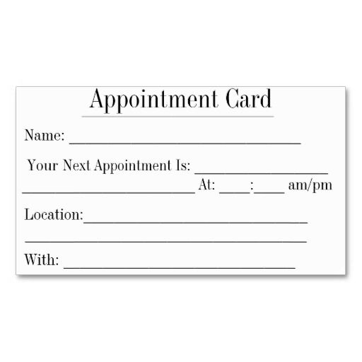 Simple Appointment Cards In White Double-Sided Standard Business - sample appointment card template