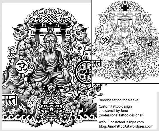 meditating buddha tattoo,tibetan sleeve tattoo,tattoo template - tattoo template