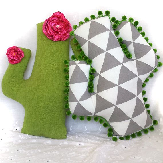bold geometric cactus pillow, original handmade one of a