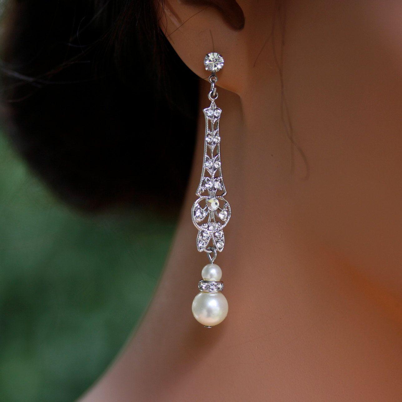 wedding earrings Wedding Jewelry Bridal Earrings Long Art Deco Dangle Earrings with Pearl and Rhinestone
