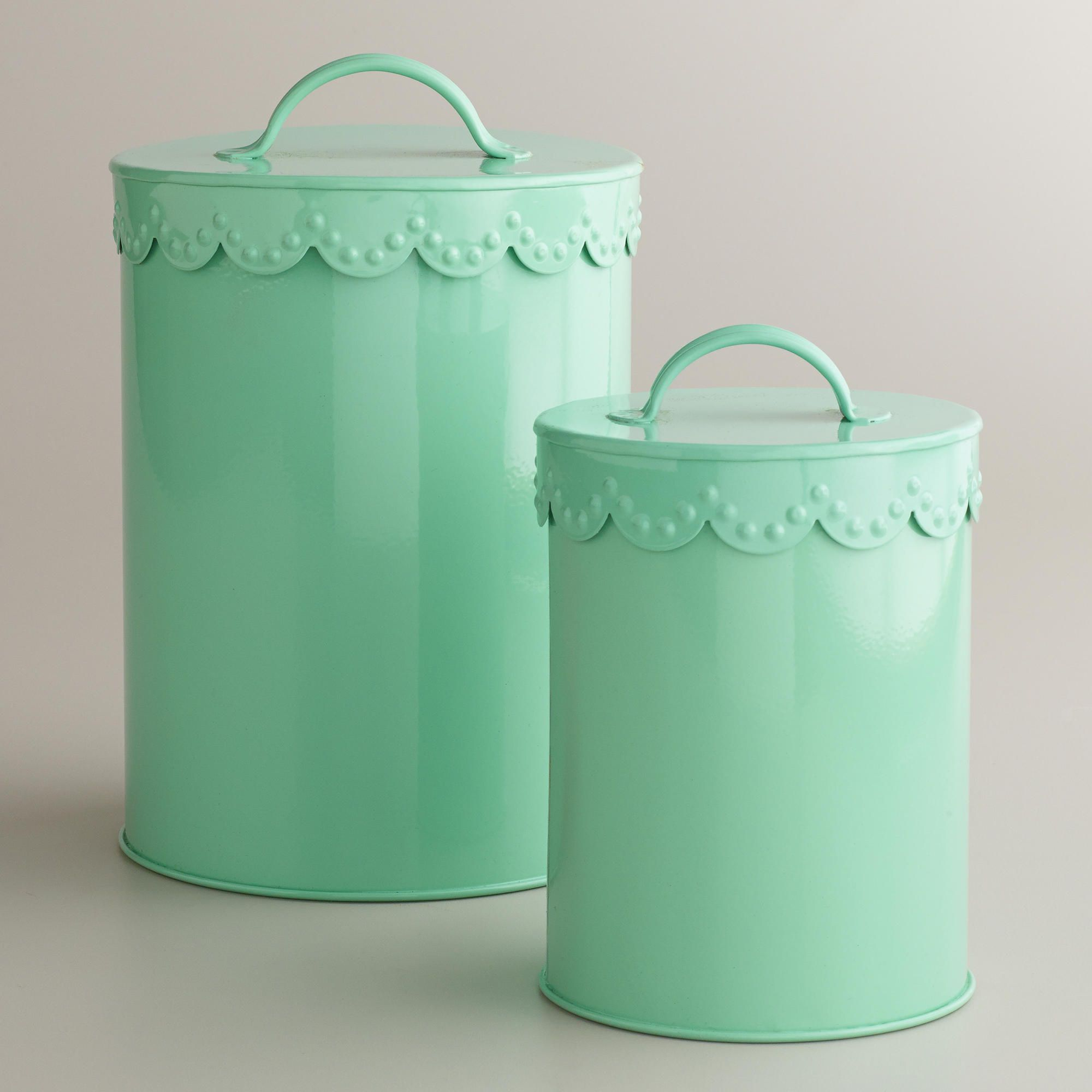 Vintage Kitchen Trash Can Mint Vintage Scalloped Top Canisters 5 43 7 World