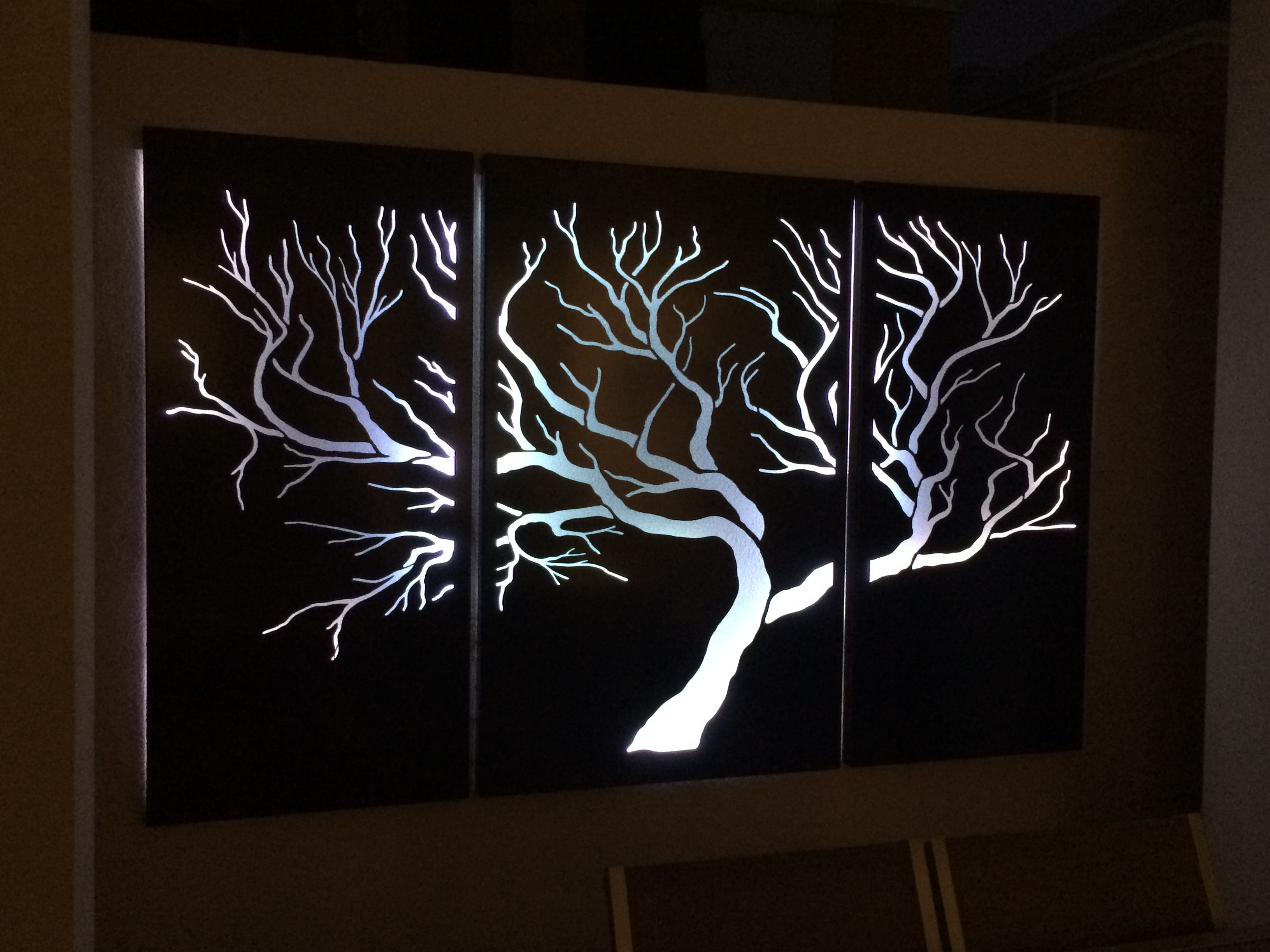 Fireplace Screens Tree Design Tree With White Led Lights Outdoor Laser Cut Screens