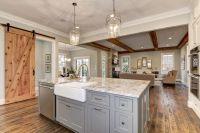 On the island: Maple Shiloh cabinets in Dovetail Gray ...