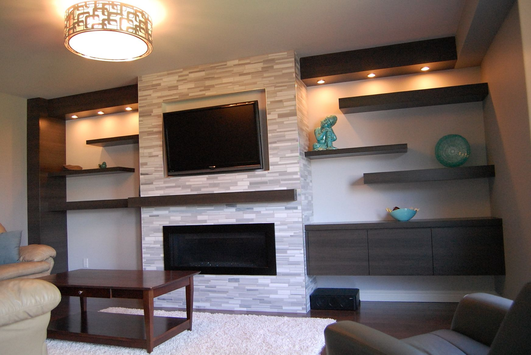 Wall Mounted Tv Setup Ideas Wall Mounted Fireplace And Floating Cabinet And Shelves
