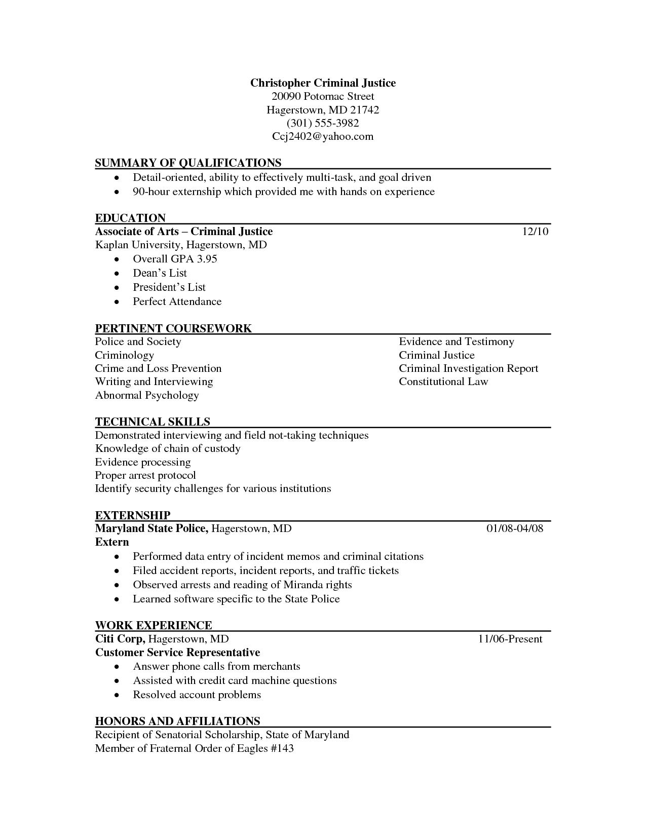 sample resume of registered criminologist