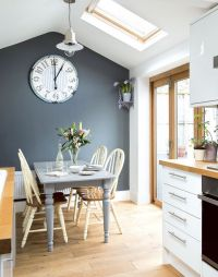 Tonal grey kitchen-diner with painted farmhouse furniture ...