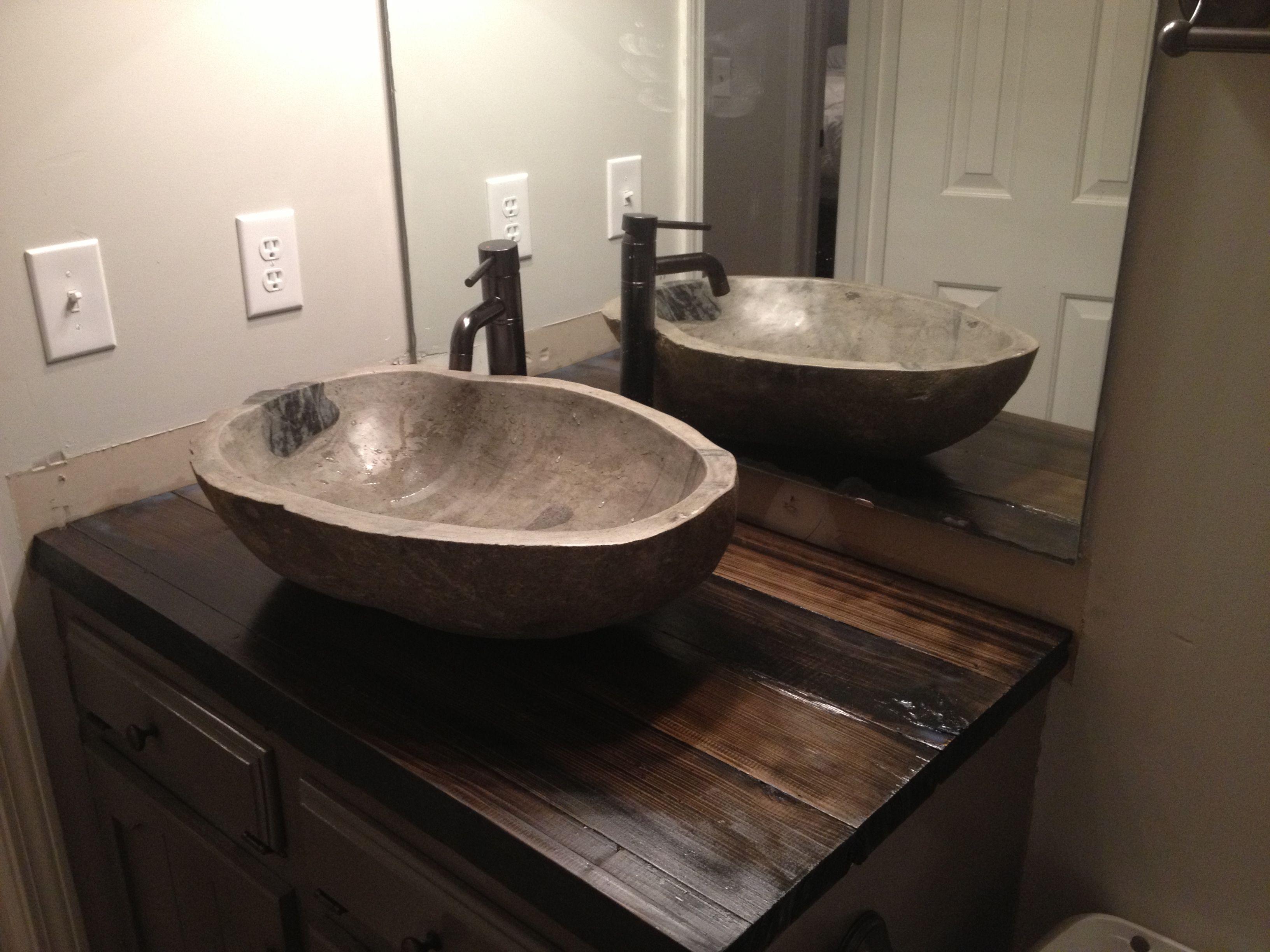 Stone Vessel Sinks Stone Vessel Sinks Real Wood Counter