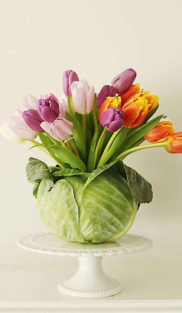 Tulips Flower Arrangement Diy: Tulip Cabbage Flower Arrangement For Easter | Flower