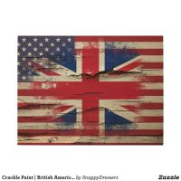 Crackle Paint | British American Flag Wood Wall Decor ...