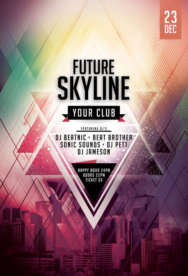 Future Skyline Flyer by styleWish (Download PSD file) Flyer - psd brochure design inspiration