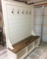 Awesome Builds - Shiplap hall tree bench. #shiplap # ...