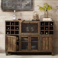 Industrial Rustic Liquor Storage Wine Rack Wood Buffet ...