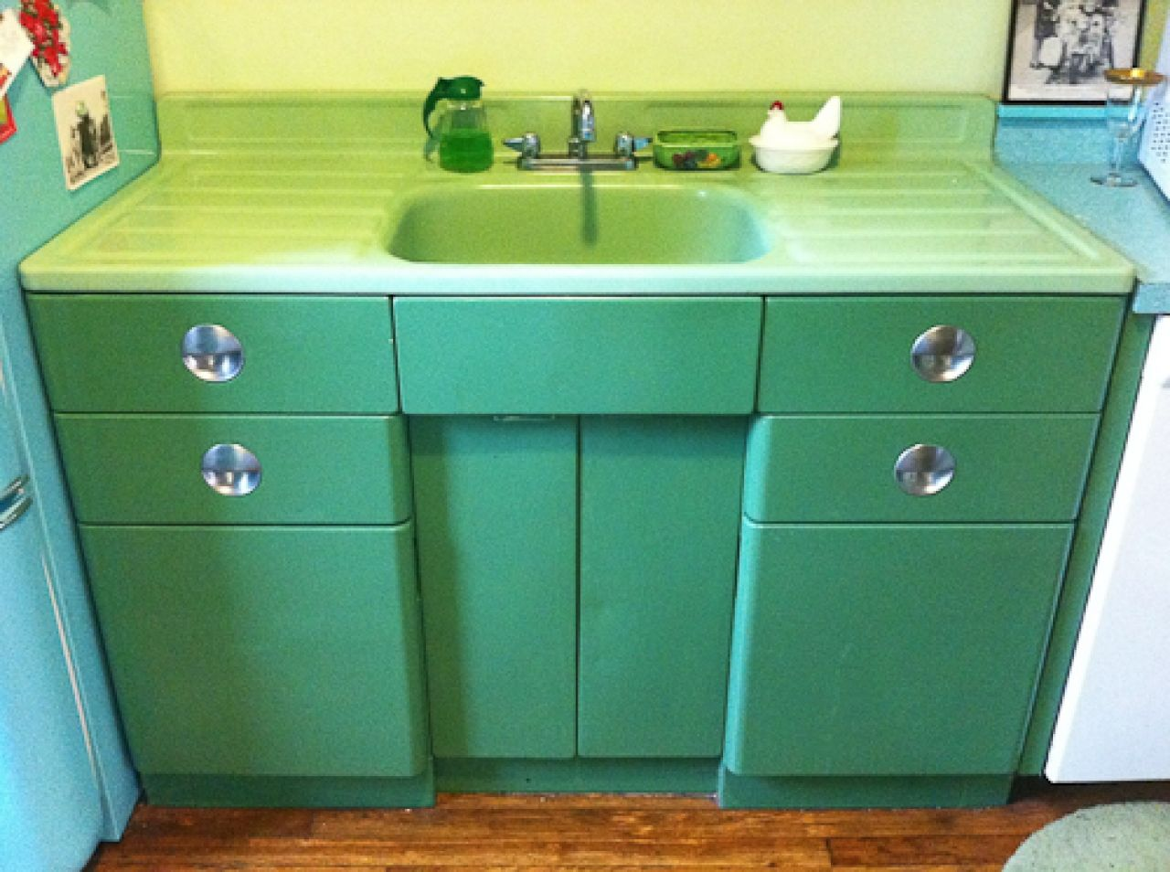 metal kitchen cabinets metal kitchen cabinets Vintage Metal Kitchen Cabinet Vintage jadeite porcelain drainboard sink and metal sink cabinet