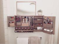 Black - Wall Mounted/Counter top Makeup Organizer Vanity ...