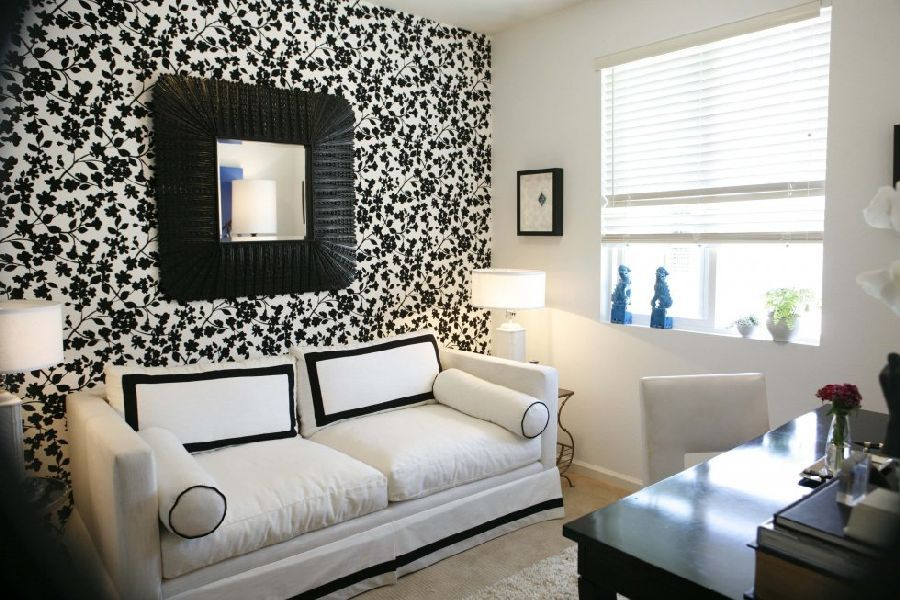 And White Living Room Idea With Cool Wallpaper Listed In - black and white living rooms