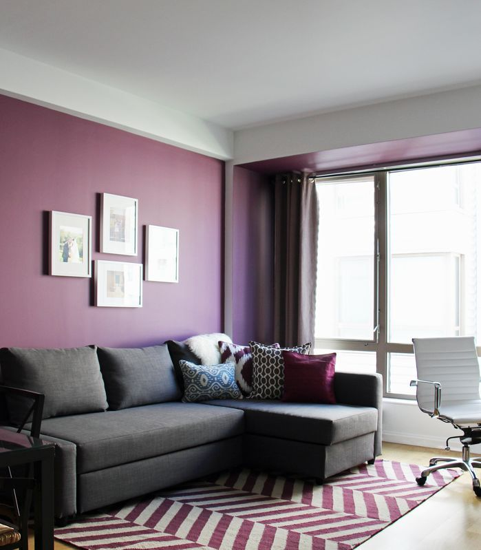 Rich use of color in this Contemporary Living Room The purple - purple and grey living room