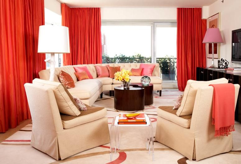 red curtains living room decorating with cream sofa furniture sets - red curtains for living room