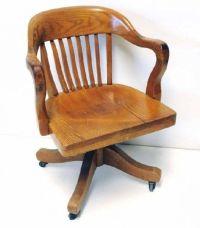 Antique Oak Swivel Desk Chair Old Solid Wood Swivel Desk ...
