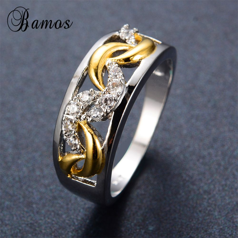 Punk style silver gold ring white gold filled female male ring wedding engagement rings for men and women fashion jewelry