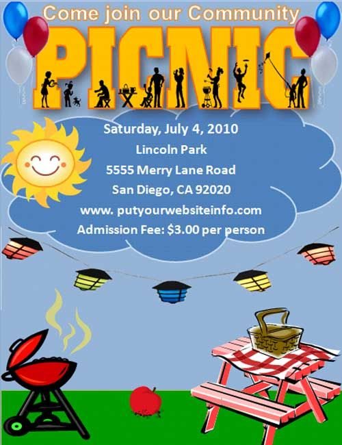 Free template for a Picnic Invitation or Party I used this for a - flyer invitation templates free