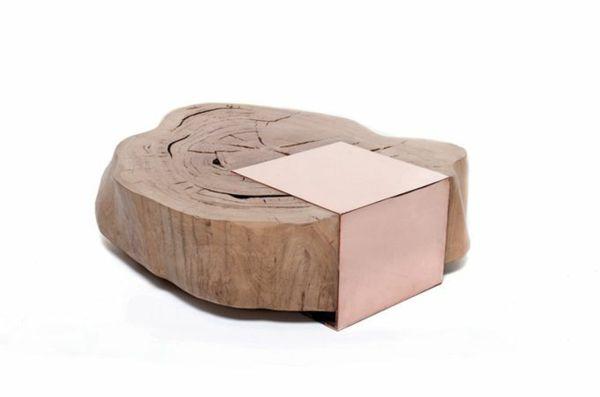 wohnzimmertische holz massivholz couchtisch baumstamm metall - designer stuehle metall baumstamm
