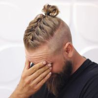 men long hairstyles with beards,men braided bun with beard ...