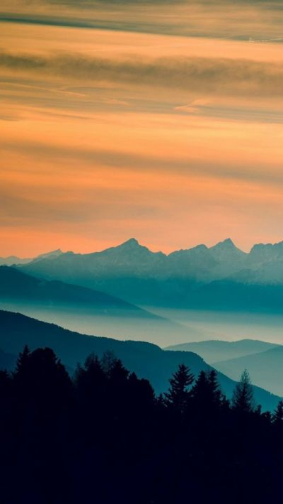 Blue Mountains Orange Clouds Sunset Landscape #iPhone #Wallpaper | iPhone Wallpapers | Pinterest ...