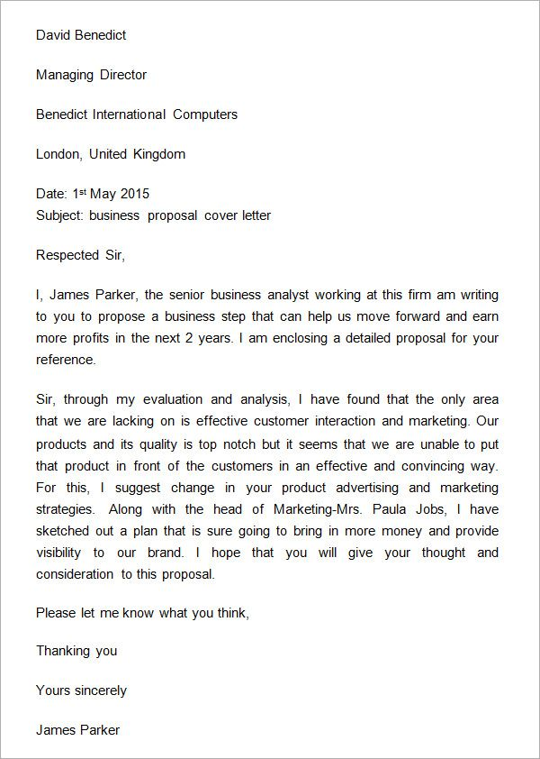 Sample Business Proposal Cover Letter business proposal - proposal email format