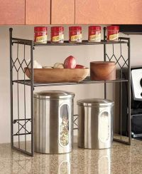 BRONZE 2-TIER SHELF KITCHEN COUNTER SPACE SAVER CABINET ...