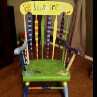 D's class project. Finished product!! Painted rocking ...