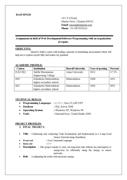 Best Resume Format Doc Resume Computer Science Engineering Cv Best - sample resume format for freshers