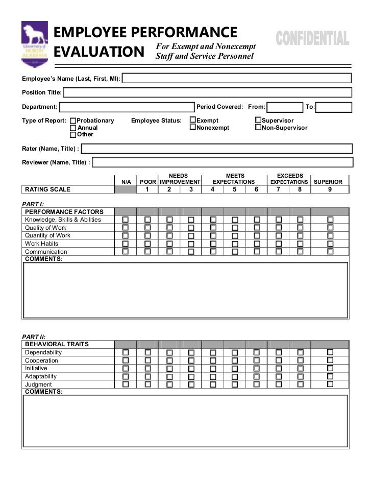 Job Performance Evaluations Employee Performance Evaluation Form - employee review