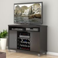 Black TV stand with wine rack | Home: Design | Pinterest ...
