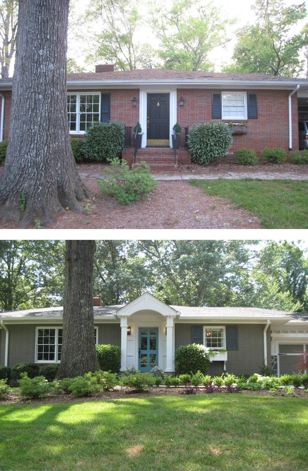 Before after painted brick ranch style home brick sherwin williams backdrop 7025
