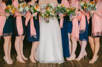 mixed navy bridesmaids dresses, nautical striped bouquets ...