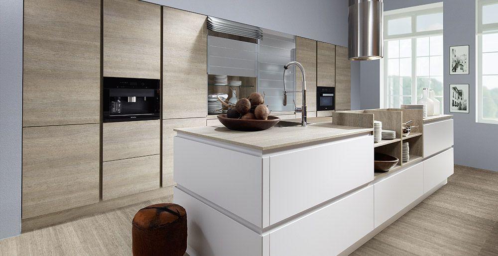 Schröder Küchen Küche ohne Griffe Fenix GLV hellgrau, Sherwood - moderne schroder kuchen