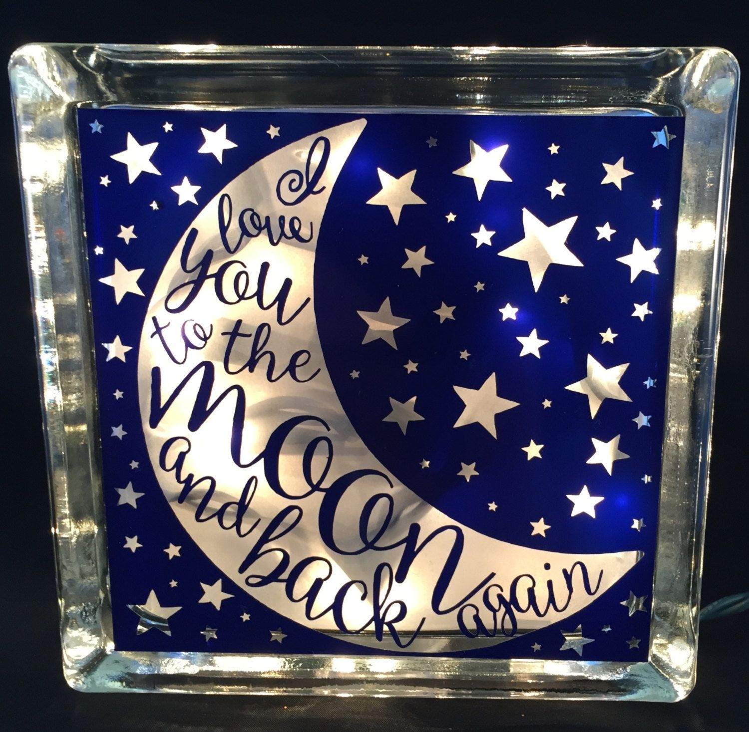Deco Block Ideas Glass Block Night Light Quoti Love You To The Moon And Back