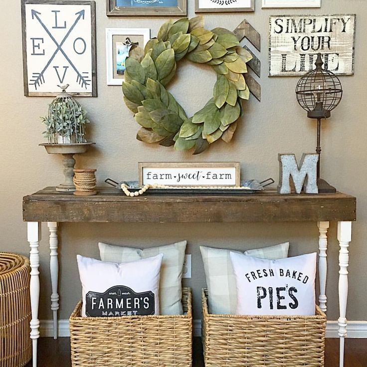 Living room console table Farmhouse style! See this Instagram - farmhouse living room decor