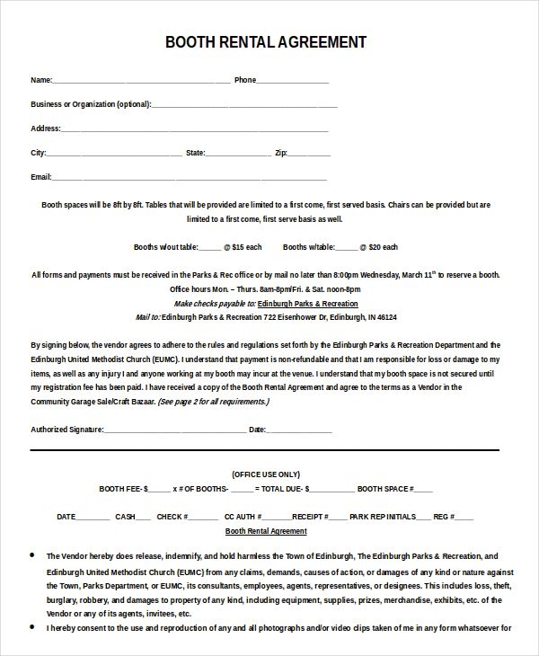 Booth rental agreement template Word Beyond the bridge Pinterest - booth rental agreement