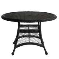 Black Resin Wicker 44.5-inch Outdoor Dining Patio Table ...