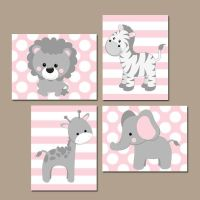 Baby Girl Nursery Wall Art, Pink Gray Nursery Artwork ...