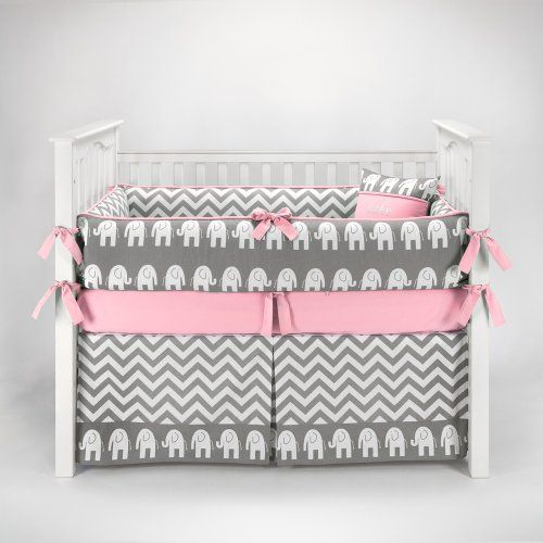 Elephant Chevron Zig Zag Gray Pink Baby Bedding 5pc