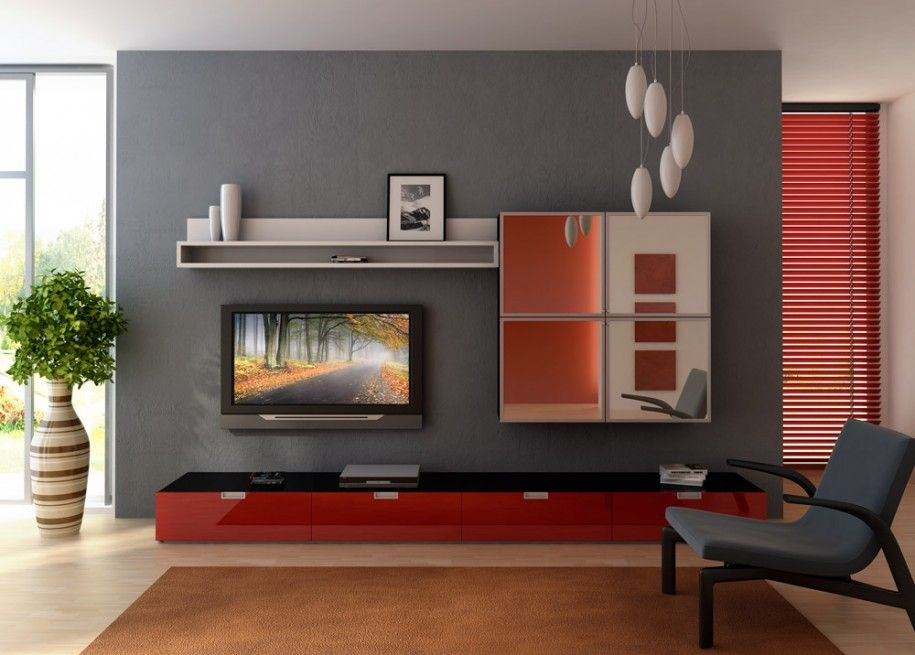Interior Design Living Room for First or Second Option  Grey Wall - grey and red living room