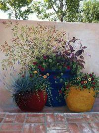 Flower mural on garden wall