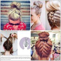 Simple French braid updo hairstyles for medium hair | Bun ...