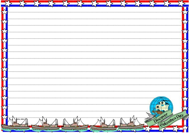Columbus Day Themed lined paper and page border Download for FREE - lined border paper