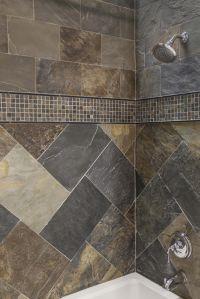 Simple shower design using all natural slate tiles. # ...