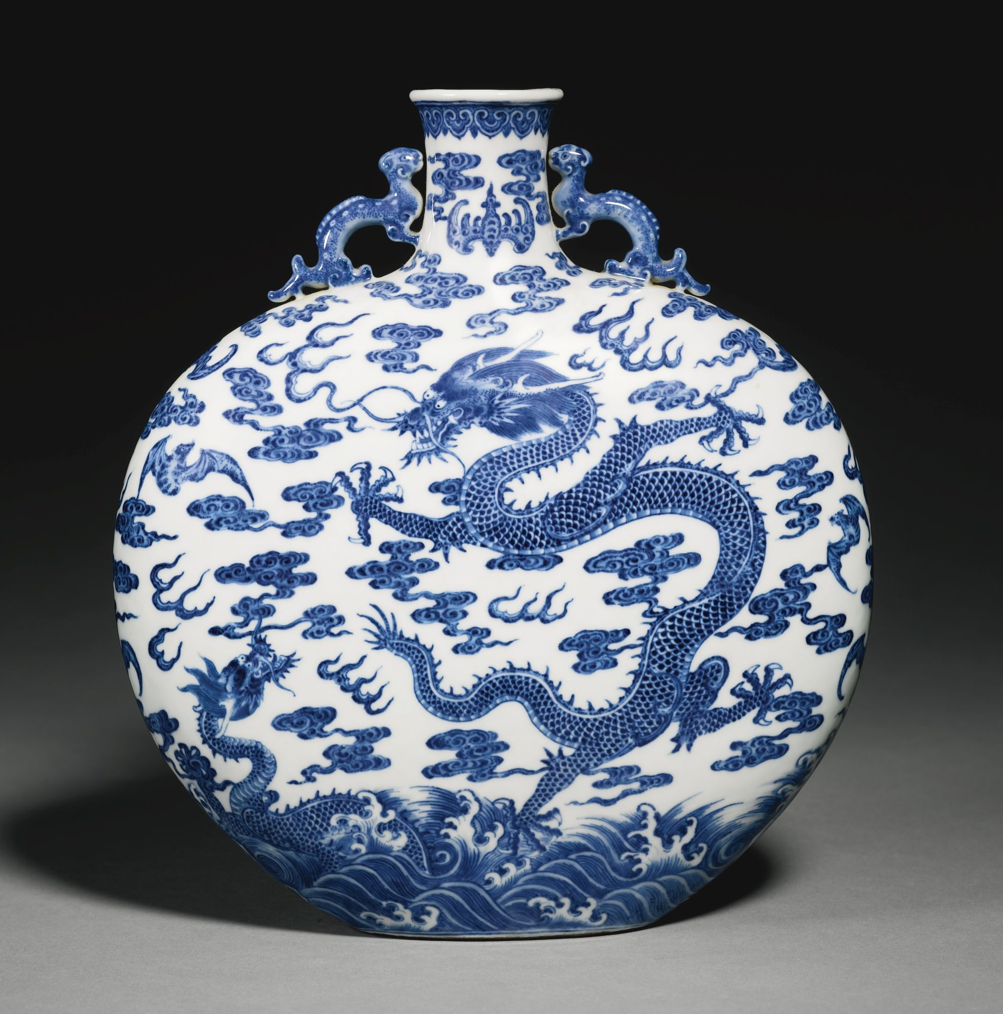 Clipart Waschbecken A Rare Blue And White 'dragon' Moonflask Qing Dynasty