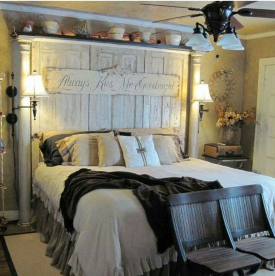 HEADBOARD, made using old salvaged doors and porch columns